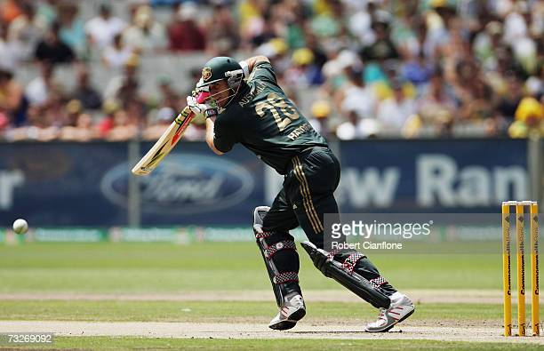 Matthew Hayden of Australia bats during the Commonwealth Bank One Day International Series first final match between Australia and England at the...