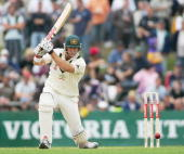 Matthew Hayden of Australia hits a four during day two of the Second Test between Australia and the West Indies played at Bellerive Oval on November...