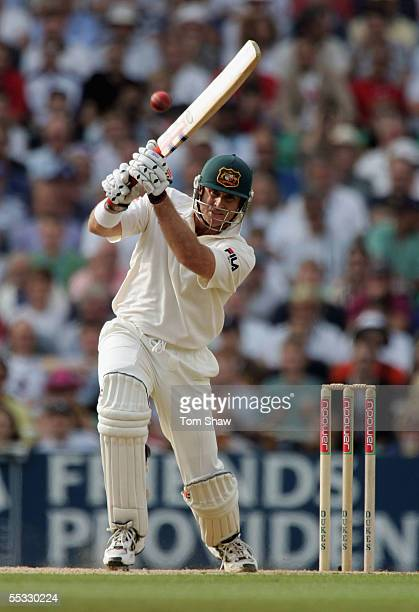 Matthew Hayden of Australia hits out during day three of the Fifth npower Ashes Test match between England and Australia at the Brit Oval on...