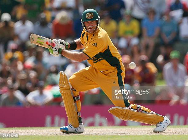 Matthew Hayden of Australia hits out during the ICC Cricket World Cup Super Eights match between Australia and England at the Sir Vivian Richards...