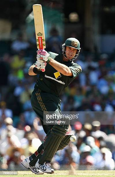 Matthew Hayden of Australia plays a shot off his pads during the Commonwealth Bank Series match between Australia and India held at the Sydney...