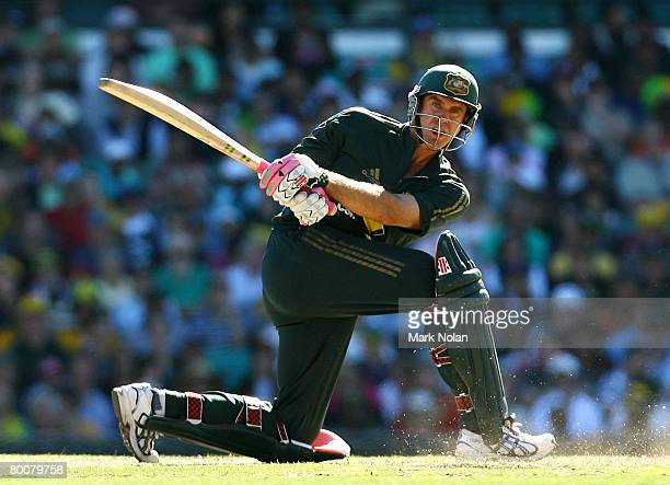 Matthew Hayden of Australia plays a sweep shot during the Commonwealth Bank One Day International Series first final match between Australia and...