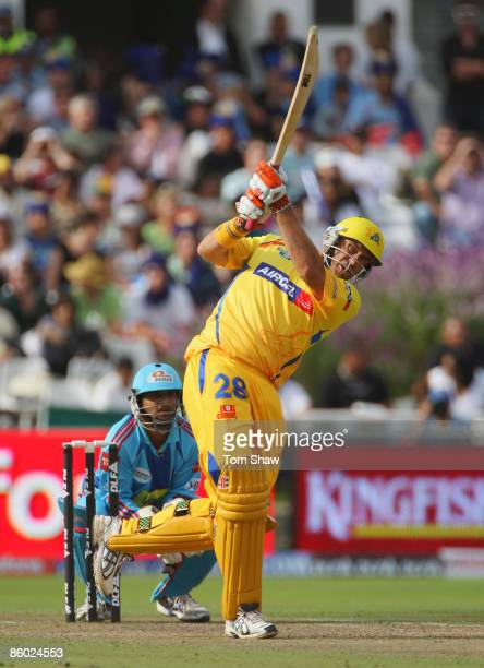 Matthew Hayden of Chennai hits out during the IPL T20 match between Mumbai Indians and Chennai Super Kings at Newlands Cricket Ground on April 18...
