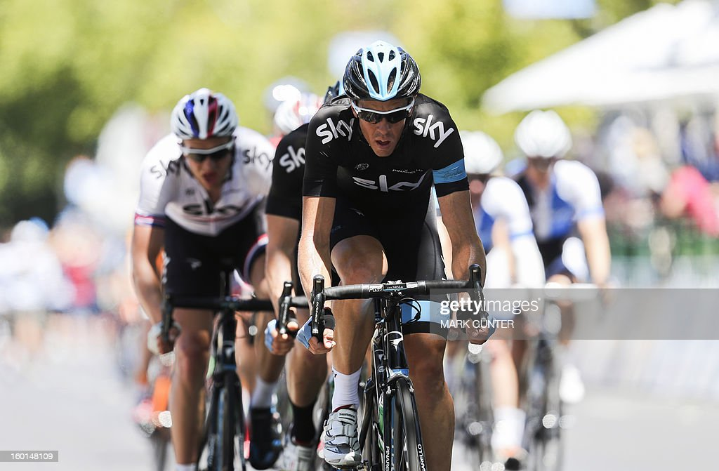Matthew Hayman of Australia leads Team Sky during the 90-km stage 6 around the streets of Adelaide on the final day of the Tour Down Under cycling race in Adelaide on January 27, 2013. AFP PHOTO / Mark Gunter USE