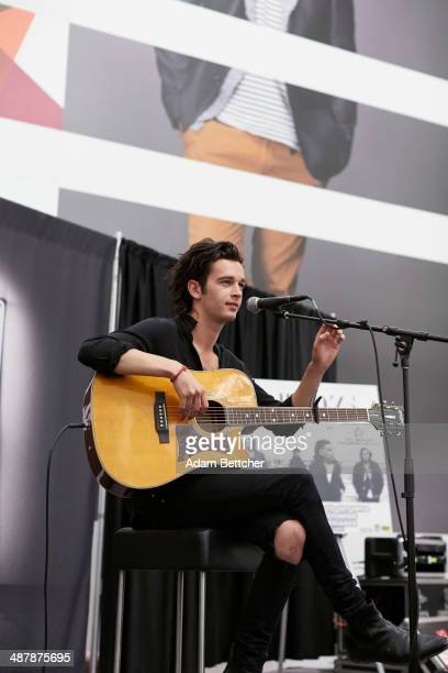 Matthew Healey of the British band 'The 1975' performs and signs autographs at the Mall of America on May 2 2014 in Bloomington Minnesota