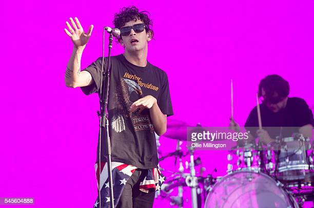 Matthew Healy and George Daniel of The 1975 perform onstage during Day 1 of Wireless Festival 2016 at Finsbury Park on July 8 2016 in London England