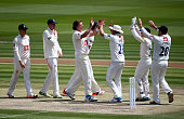 Matthew Hobden of Sussex celebrates with team mates after taking the wicket of Sean Ervine of Hampshire during day two of the LV County Championship...