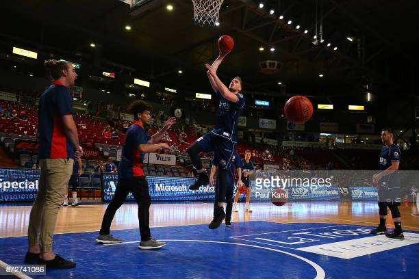 Matthew Hodgson of the 36ers warms up before the round six NBL match between the Adelaide 36ers and the Illawarra Hawks at Titanium Security Arena on...