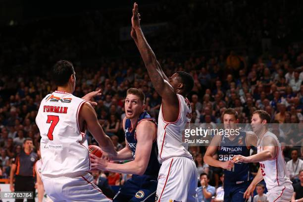 Matthew Hodgson of the 36ers works to the basketduring the round six NBL match between the Adelaide 36ers and the Illawarra Hawks at Titanium...