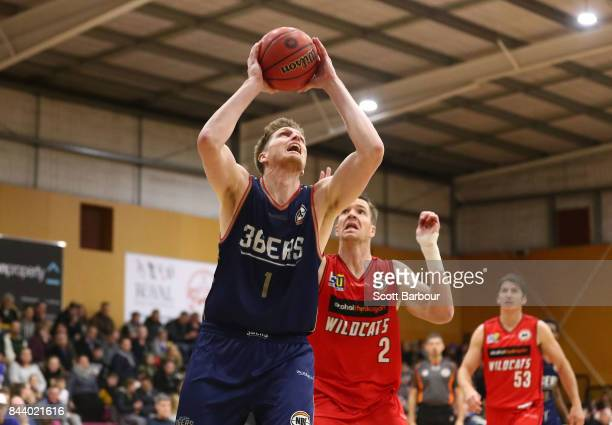 Matthew Hodgson of the Adelaide 36ers controls the ball during the 2017 NBL Blitz preseason match between the Perth Wildcats and the Adelaide 36ers...