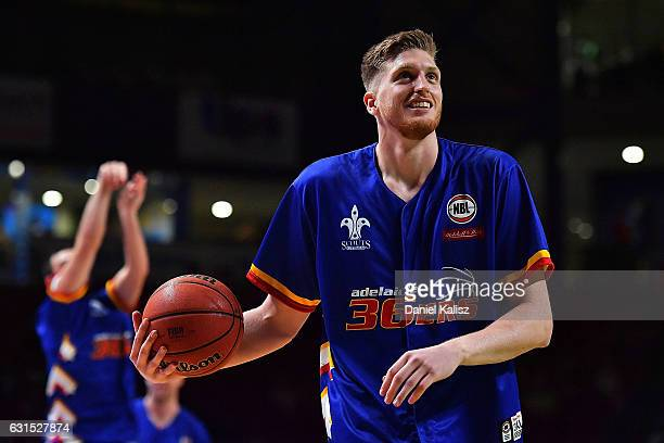 Matthew Hodgson of the Adelaide 36ers warms up prior to the round 15 NBL match between the Adelaide 36ers and Melbourne United at Titanium Security...