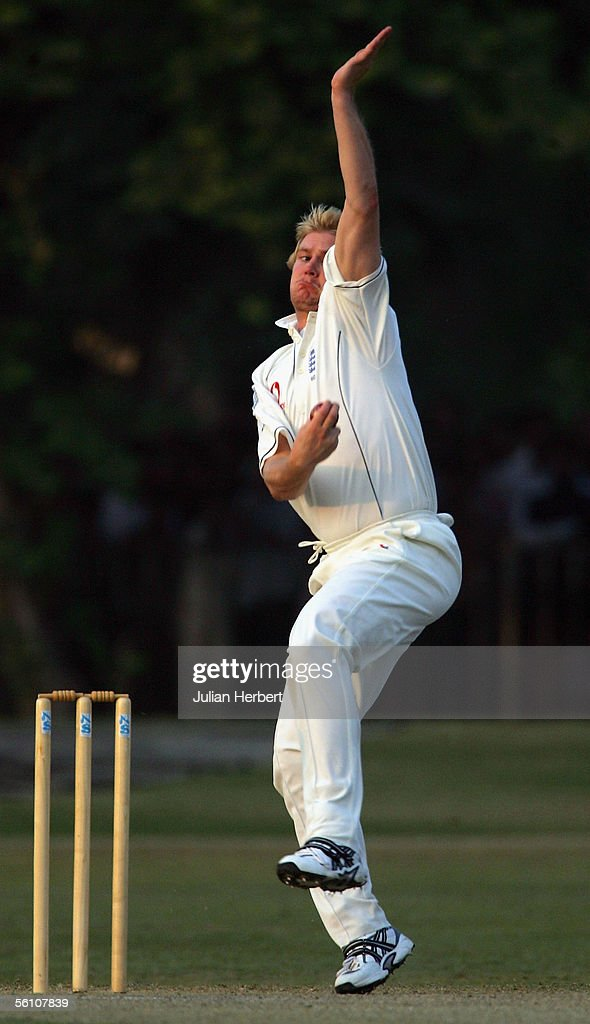 <a gi-track='captionPersonalityLinkClicked' href=/galleries/search?phrase=Matthew+Hoggard&family=editorial&specificpeople=193834 ng-click='$event.stopPropagation()'>Matthew Hoggard</a> of England bowls on day two of there match against Pakistan 'A' played at The Bagh-E- Jinnah ground on November 7, 2005 in Lahore, Pakistan.
