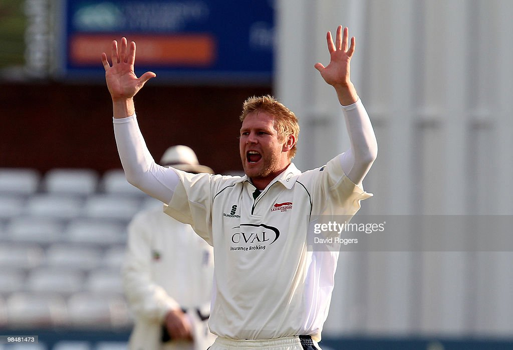 <a gi-track='captionPersonalityLinkClicked' href=/galleries/search?phrase=Matthew+Hoggard&family=editorial&specificpeople=193834 ng-click='$event.stopPropagation()'>Matthew Hoggard</a> of Leicestershire celebrates after taking the wicket of Chris Rogers during the LV County Championship match between Derbyshire and Leicestershire at the County Ground on April 15, 2010 in Derby, England.