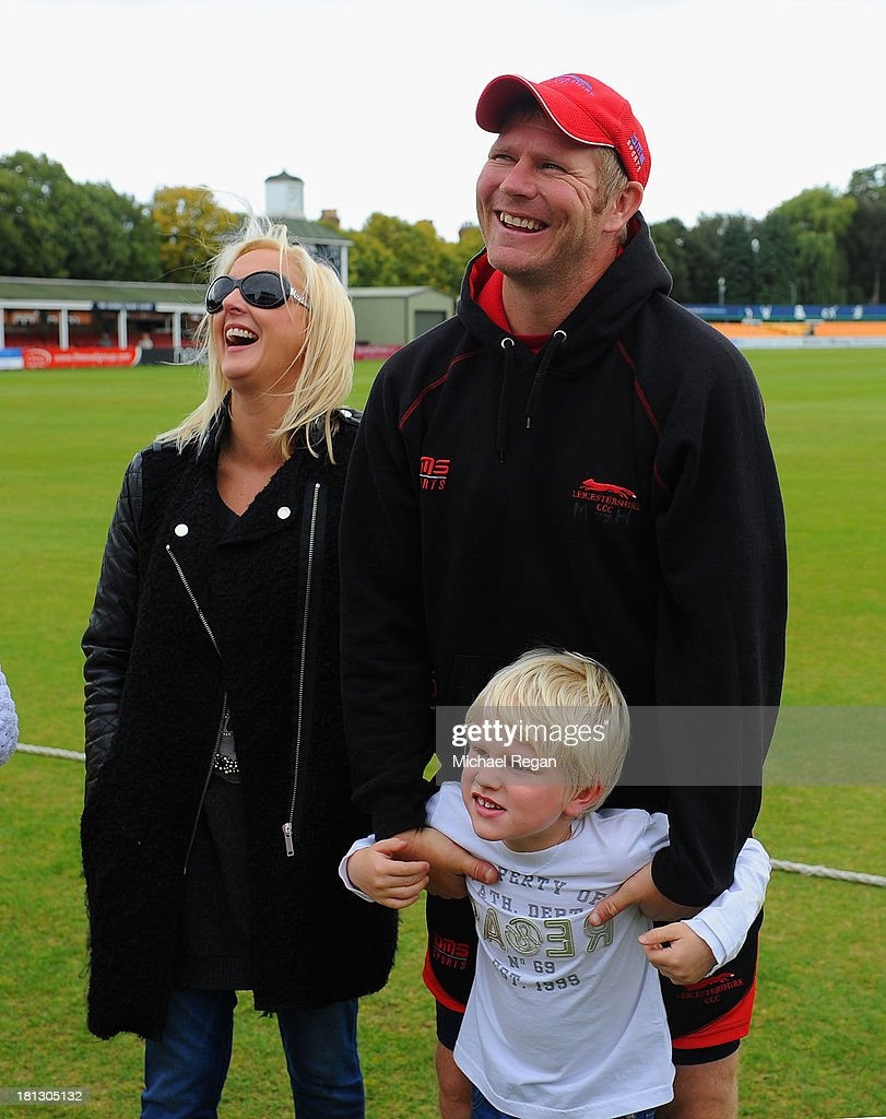 <a gi-track='captionPersonalityLinkClicked' href=/galleries/search?phrase=Matthew+Hoggard&family=editorial&specificpeople=193834 ng-click='$event.stopPropagation()'>Matthew Hoggard</a> of Leicestershire looks on with his wife sarah Hoggard and son Ernie Hoggard during day four of the LV County Championship division Two match between Leicestershire and Hampshire at Grace Road on September 20, 2013 in Leicester, England.