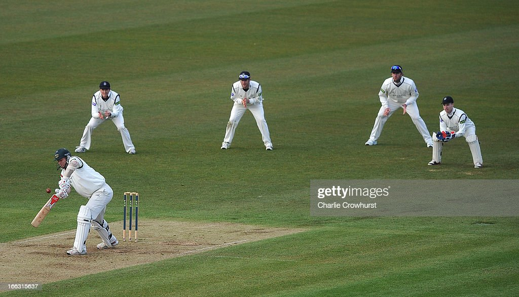 <a gi-track='captionPersonalityLinkClicked' href=/galleries/search?phrase=Matthew+Hoggard&family=editorial&specificpeople=193834 ng-click='$event.stopPropagation()'>Matthew Hoggard</a> of Leicestershire plays a shot as the slips wait for a catch during day two of the LV County Championship match between Hampshire and Leicestershire at The Ageas Bowl on April 11, 2013 in Southampton, England.