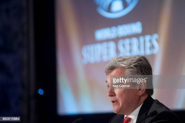 Matthew Hooper Executive Vice President of Modern Times Group speaks during a press conference to announce the World Boxing Super Series at The...