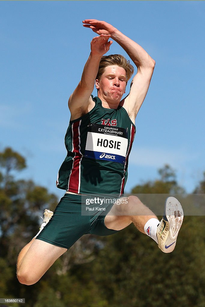 Matthew Hosie of Queensland competes in the mens u16 long jump during day six of the Australian Junior Championships at the WA Athletics Stadium on March 17, 2013 in Perth, Australia.