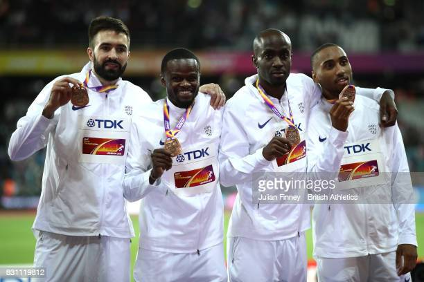 Matthew HudsonSmith Dwayne Cowan Rabah Yousif and Martyn Rooney of Great Britain bronze pose with their medals for the Men's 4x400 Metres Relay final...