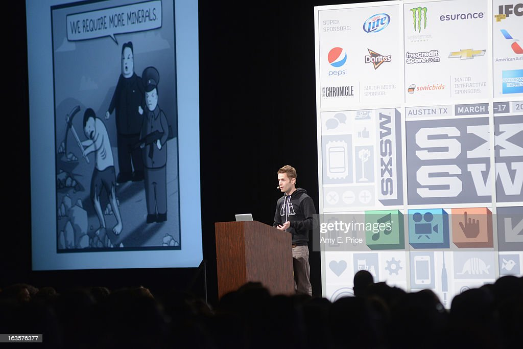 Matthew Inman of The Oatmeal speaks onstage at the Matthew Inman Keynote during the 2013 SXSW Music, Film + Interactive Festival at Austin Convention Center on March 12, 2013 in Austin, Texas.