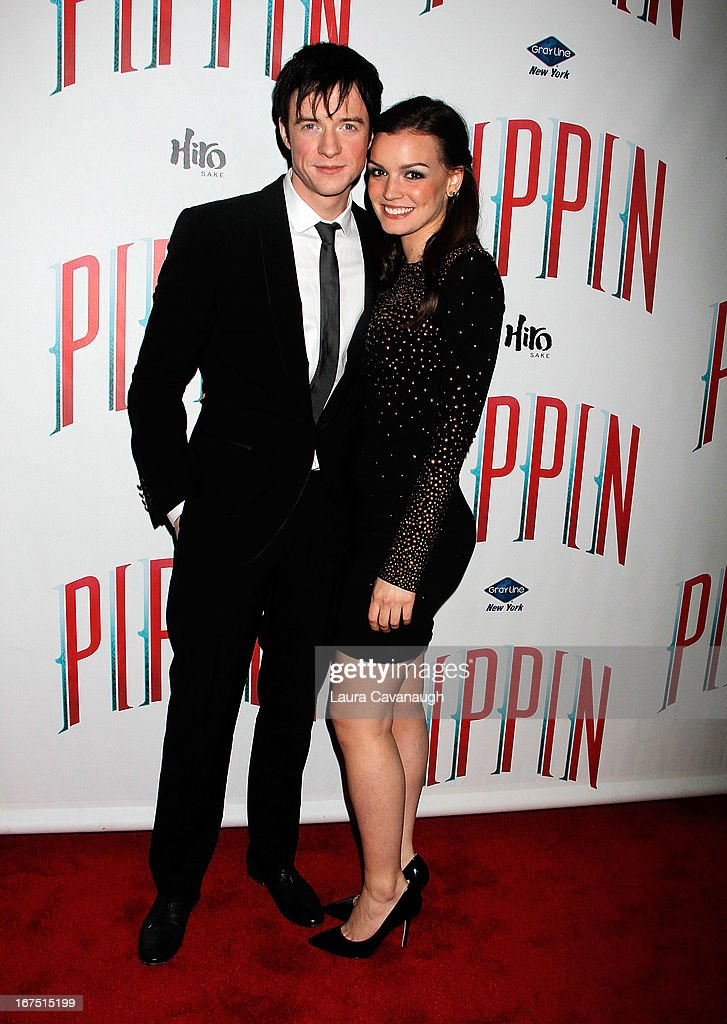Matthew James and <a gi-track='captionPersonalityLinkClicked' href=/galleries/search?phrase=Jennifer+Damiano&family=editorial&specificpeople=4463350 ng-click='$event.stopPropagation()'>Jennifer Damiano</a> attend the after party for the Broadway opening night of 'Pippin' at Slate on April 25, 2013 in New York City.