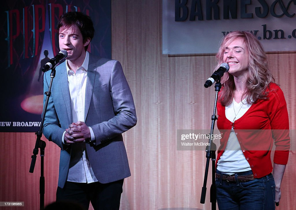 Matthew James Thomas and Rachel Bay Jones perform at the Broadway cast of 'Pippin' performance and CD signing at Barnes & Noble, 86th & Lexington on July 9, 2013 in New York City.