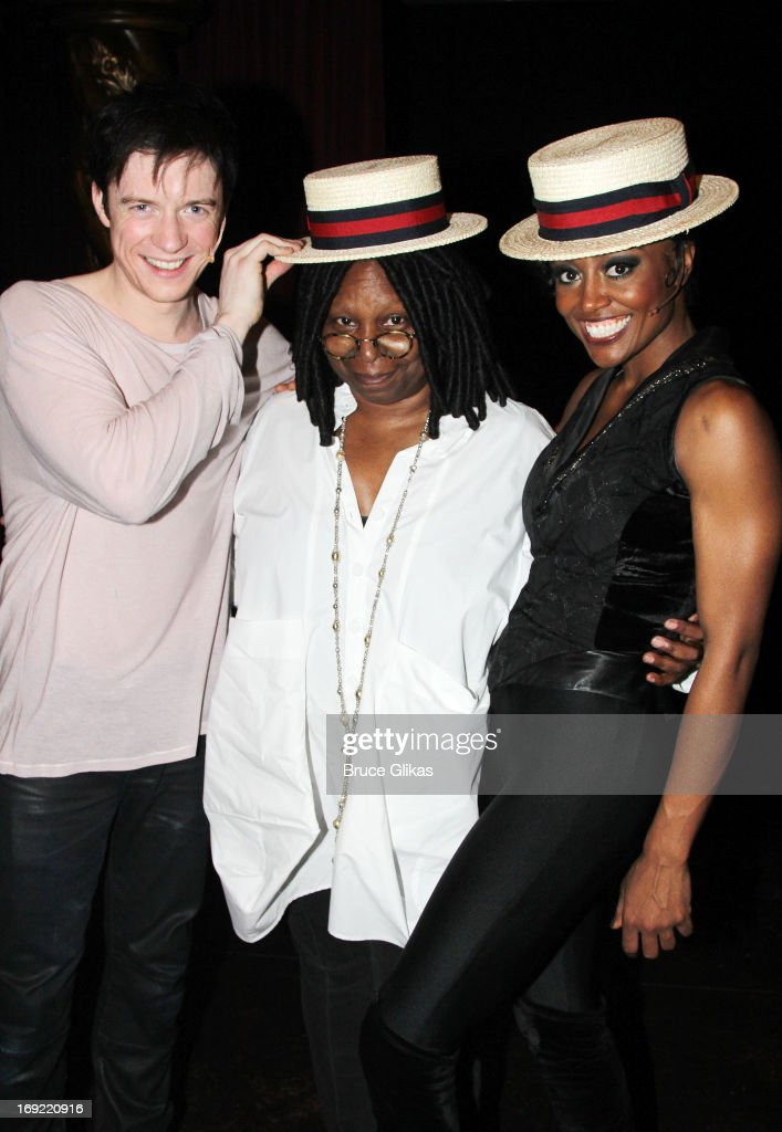 Matthew James Thomas as 'Pippin' Whoopi Goldberg and Patina Miller as 'The Leading Player' pose backstage at the hit musical 'Pippin' on Broadway at...