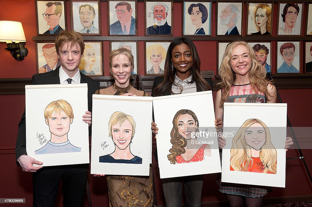 Matthew James Thomas Charlotte d'Amboise Patina Miller and Rachel Bay Jones attend the Caricature Unveiling for Broadway's 'Pippin' at Sardi's on...