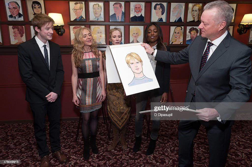 Matthew James Thomas Rachel Bay Jones Charlotte d'Amboise Patina Miller and Max Klimavicius attend the Caricature Unveiling for Broadway's 'Pippin'...