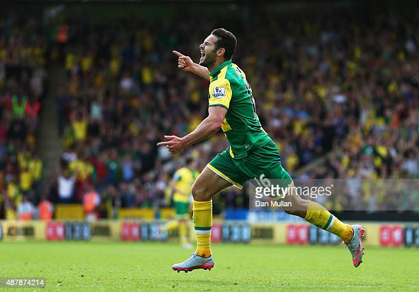 Matthew Jarvis of Norwich City celebrates scoring his team's third goal during the Barclays Premier League match between Norwich City and AFC...