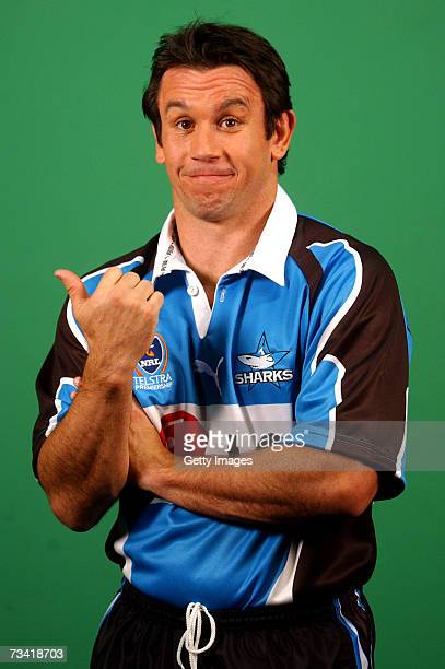 Matthew Johns of the Cronulla Sharks poses for a photo shoot during a segment on the Channel Nine Footy Show on July 4 2002 in Sydney Australia