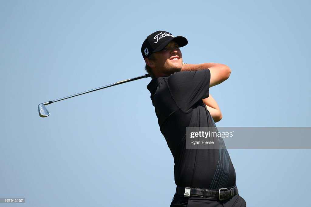 Matthew Jones of Australia plays a fairway shot during round three of the 2012 Australian Open at The Lakes Golf Club on December 8, 2012 in Sydney, Australia.