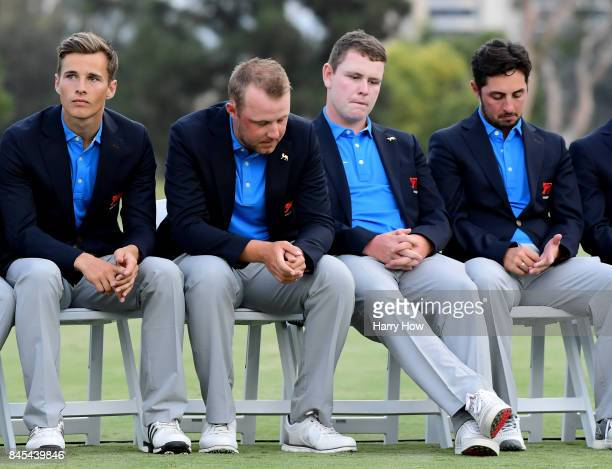 Matthew Jordan Paul McBride Robert MacIntyre and Alfie Plant of Team Great Britain and Ireland during closing ceremony after losing 197 to Team USA...