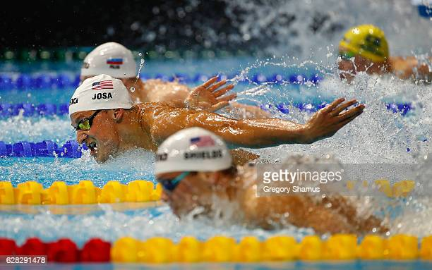 Matthew Josa of the United States competes in his preliminary heat of the 100m Butterfly on day two of the 13th FINA World Swimming Championships at...