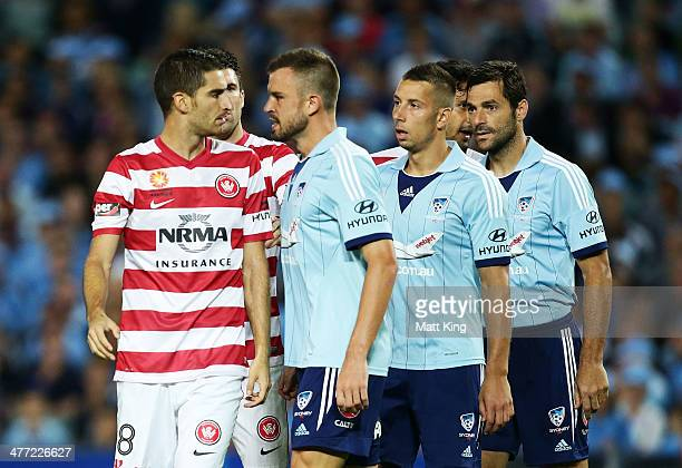 Matthew Jurman of Sydney FC faces off with Iacopo La Rocca of the Wanderers during the round 22 ALeague match between Sydney FC and the Western...