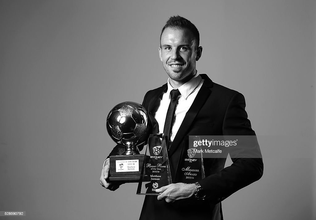 Matthew Jurman poses with all three of the major Hyundai A-League awards during the Sydney FC Sky Blue Ball at the Sydney Cricket Ground on May 6, 2016 in Sydney, Australia.