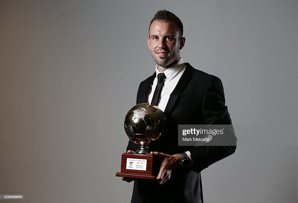 Matthew Jurman poses with the Hyundai A-League Player of the Year award during the Sydney FC Sky Blue Ball at the Sydney Cricket Ground on May 6, 2016 in Sydney, Australia.