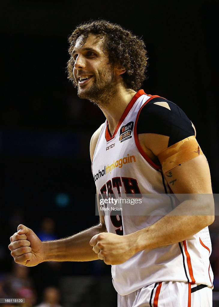 Matthew Knight of the Wildcats celebrates victory after game two of the NBL Semi Final series between the Wollongong Hawks and the Perth Wildcats at WIN Entertainment Centre on March 31, 2013 in Wollongong, Australia.