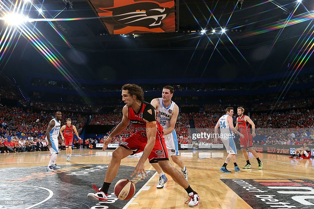 Matthew Knight of the Wildcats looks to drive to the basket during the round 24 NBL match between the Perth Wildcats and the New Zealand Breakers at Perth Arena on March 22, 2013 in Perth, Australia.