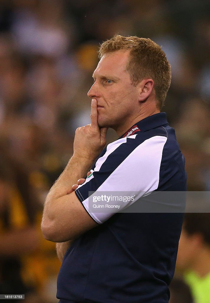Matthew Knights the coach of the Cats looks on during the VFL Grand Final match between the Box Hill Hawks and the Geelong Cats at Etihad Stadium on September 22, 2013 in Melbourne, Australia.