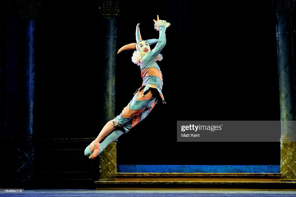 Matthew Koon as the Jester performs during the dress rehearsal for the English National Ballet's 'My First Cinderella' at The Peacock Theatre on March 26, 2013 in London, England.