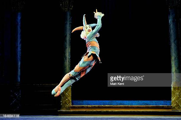 Matthew Koon as the Jester performs during the dress rehearsal for the English National Ballet's 'My First Cinderella' at The Peacock Theatre on...