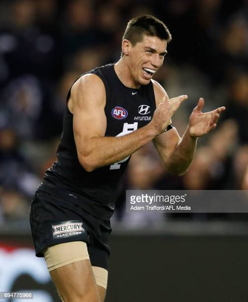 Matthew Kreuzer of the Blues celebrates a goal in his 150th game during the 2017 AFL round 12 match between the Carlton Blues and the GWS Giants at...
