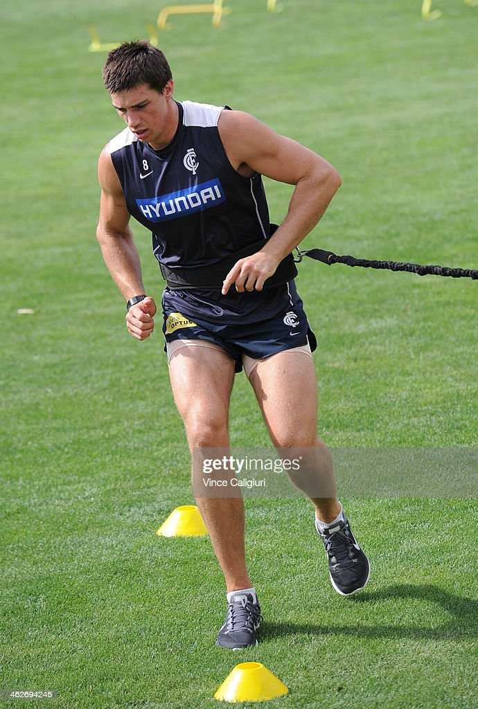 Matthew Kreuzer of the blues during a Carlton Blues AFL pre-season training session at Visy Park on January 15, 2014 in Melbourne, Australia.
