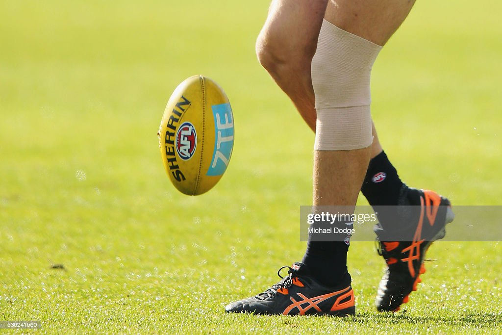 Matthew Kreuzer of the Blues kicks the ball during the Carlton Blues AFL training session at Ikon Park on June 1, 2016 in Melbourne, Australia.