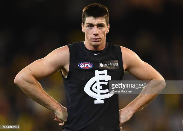 Matthew Kreuzer of the Blues looks dejected after losing the round 14 AFL match between the Richmond Tigers and the Carlton Blues at Melbourne...