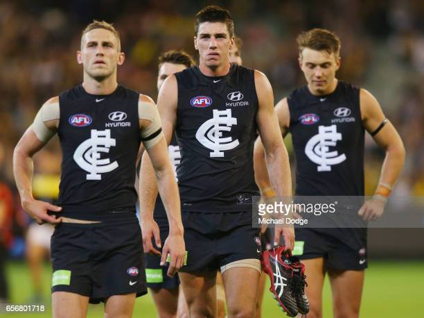 Matthew Kreuzer of the Blues walks off after defeat during the round one AFL match between the Carlton Blues and the Richmond Tigers at Melbourne...