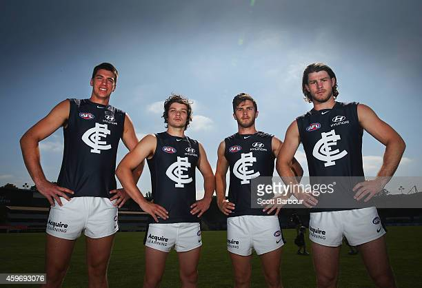 Matthew Kruezer Dylan Buckley Marc Murphy and Bryce Gibbs of the Blues poses as they unveil Carltons guernsey for 2015 during a Carlton Blues AFL...