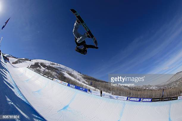 Matthew Ladley in action en route to first place finish in the ladies' FIS Snowboard World Cup at the 2016 US Snowboarding Park City Grand Prix on...
