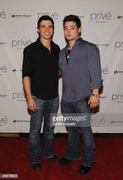 Matthew Lawrence and Andrew Lawrence arrive at Andrew Larence's 21st birthday at Prive Nightclub At Planet Hollywood Resort Casino on February 6 2009...