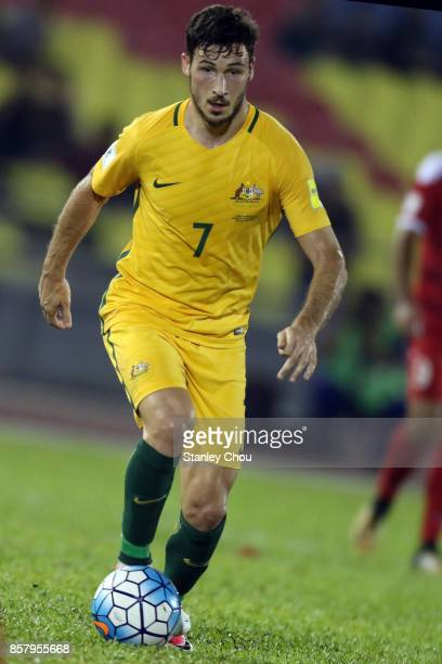 Matthew Leckie of Australia controls the ball during the 2018 FIFA World Cup Asian Playoff match between Syria and the Australia Socceroos at Hang...